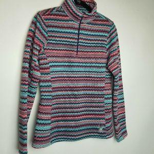 Spyder 10 pink stripe 1/4 zip pullover sweater
